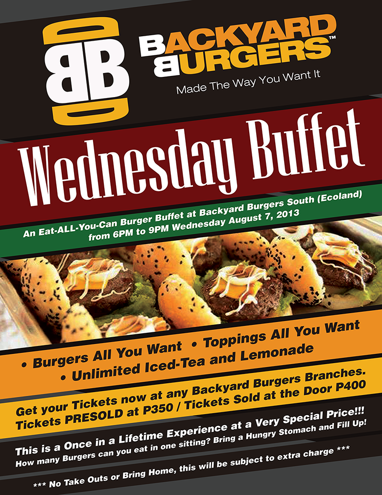 backyard burgers wednesday buffet davao burgers at backyard burgers