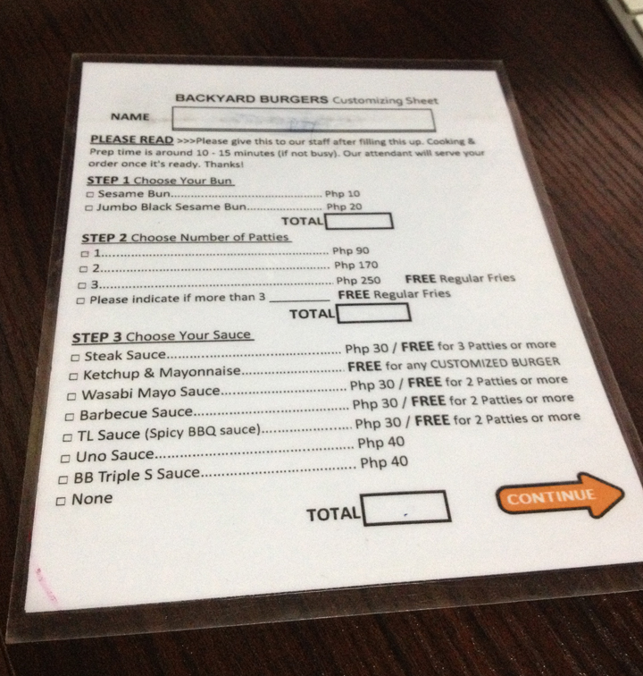 Fill up the BB Customizing Sheet completely. Don't forget your NAME and the NAME of your Burger
